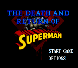 Death and Return of Superman, The (USA) Title Screen