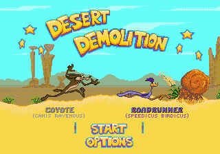 Desert Demolition Starring Road Runner and Wile E. Coyote (USA, Europe) Title Screen