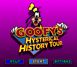 Goofy's Hysterical History Tour (USA) Title Screen