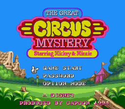 Great Circus Mystery Starring Mickey & Minnie, The (USA) Title Screen