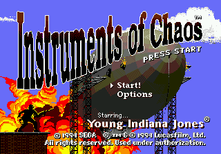 Instruments of Chaos Starring Young Indiana Jones (USA) Title Screen