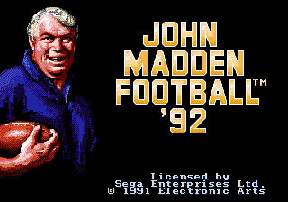 John Madden Football '92 (USA, Europe) Title Screen
