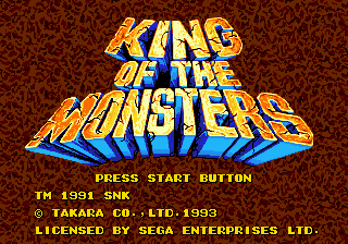 King of the Monsters (Europe) Title Screen