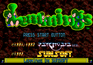 Lemmings (Japan) Title Screen