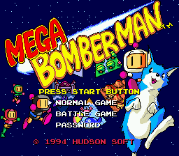 Mega Bomberman (USA) Title Screen