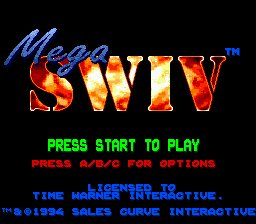 Mega SWIV (Europe) Title Screen