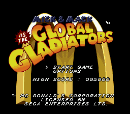 Mick & Mack as the Global Gladiators (USA) Title Screen