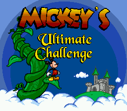 Mickey's Ultimate Challenge (USA) Title Screen