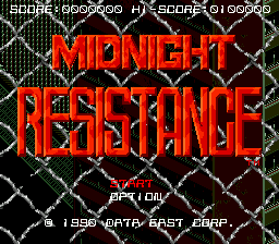 Midnight Resistance (Japan) Title Screen
