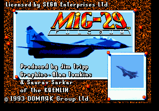 Mig-29 Fighter Pilot (USA) Title Screen