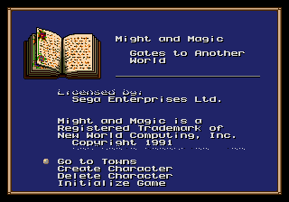 Might and Magic - Gates to Another World (USA, Europe) Title Screen