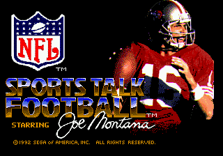 NFL Sports Talk Football '93 Starring Joe Montana (USA, Europe) Title Screen