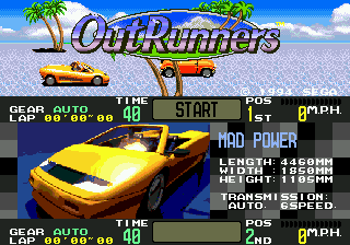 OutRunners (USA) Title Screen