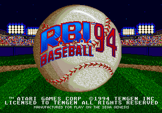 R.B.I. Baseball 94 (USA, Europe) Title Screen