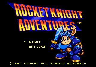 Rocket Knight Adventures (USA) Title Screen