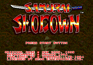 Samurai Shodown (USA) Title Screen