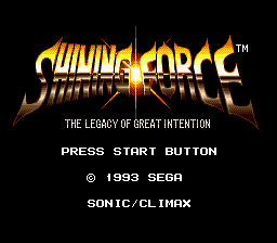 Shining Force (USA) Title Screen