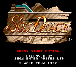 Sol-Deace (USA) Title Screen