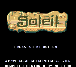 Soleil (Europe) Title Screen