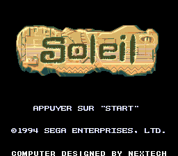 Soleil (France) Title Screen
