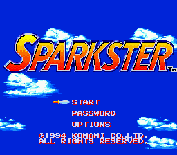 Sparkster (Europe) Title Screen
