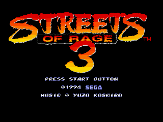 Streets of Rage 3 (Europe) Title Screen