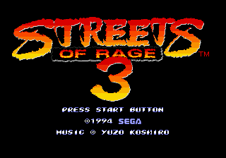 Streets of Rage 3 (USA) Title Screen