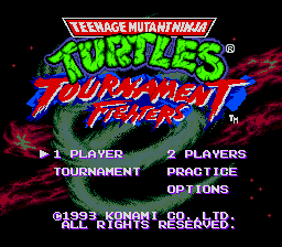 Teenage Mutant Ninja Turtles - Tournament Fighters (Japan) Title Screen