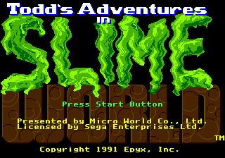 Todd's Adventures in Slime World (USA) Title Screen