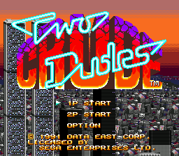 Two Crude Dudes (USA) Title Screen