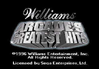 Williams Arcade's Greatest Hits (USA) Title Screen