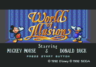 World of Illusion Starring Mickey Mouse and Donald Duck (USA) Title Screen