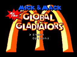 Mick & Mack as the Global Gladiators (Europe) Title Screen
