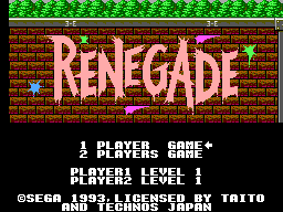 Renegade (Europe) Title Screen