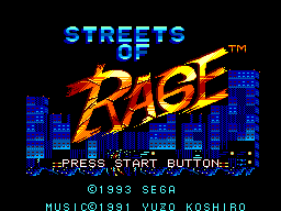 Streets of Rage (Europe) Title Screen