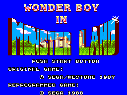 Wonder Boy in Monster Land (USA, Europe) Title Screen