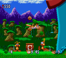 Bubsy in Claws Encounters of the Furred Kind (USA) In game screenshot