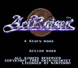 ActRaiser (Europe) Title Screen
