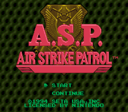 Air Strike Patrol (USA) Title Screen