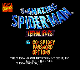 Amazing Spider-Man, The - Lethal Foes (Japan) Title Screen