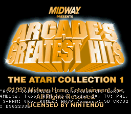 Arcade's Greatest Hits - The Atari Collection 1 (Europe) Title Screen