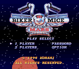 Biker Mice from Mars (Europe) Title Screen