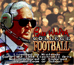 Bill Walsh College Football (USA) Title Screen