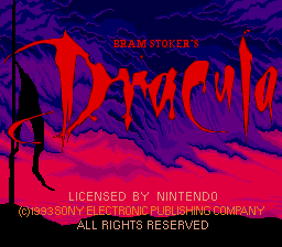 Bram Stoker's Dracula (Europe) Title Screen