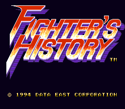 Fighter's History (USA) (Beta) Title Screen