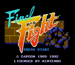 Final Fight (Europe) Title Screen