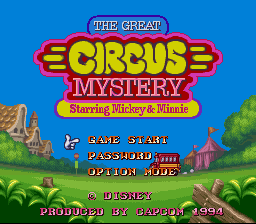 Great Circus Mystery Starring Mickey & Minnie, The (Europe) Title Screen