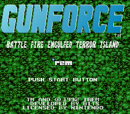 Gunforce - Battle Fire Engulfed Terror Island (USA) Title Screen