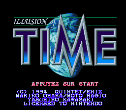 Illusion of Time (France) Title Screen