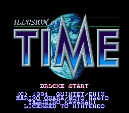 Illusion of Time (Germany) Title Screen